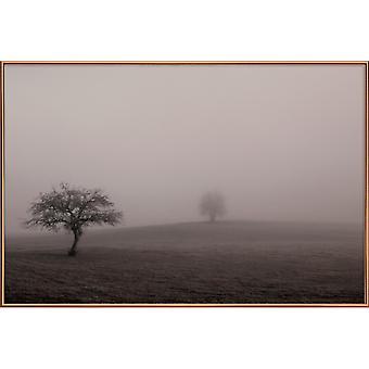 JUNIQE Print - Moody Trees Brown - Poster alberi in marrone e grigio