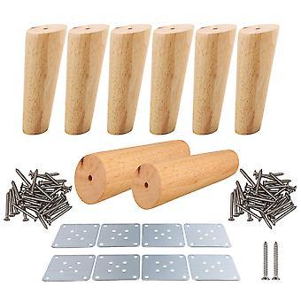 Tischbeine 8pcs 15cm Höhe Holz schräg konische Möbelfüße Teetisch Beine