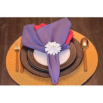 Conjunto de anéis de guardanapo floral branco artesanal