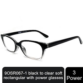 Storm Unisex Leightweight Black to Clear soft Rectangular Comfortable Spring Hinge +3 Power Glasses