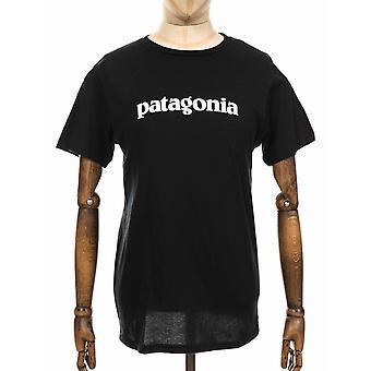 Patagonia Text Logo Organic Tee - Black