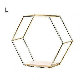 Wall shelves ledges nordic style floating hexagonal wall shelves golden l