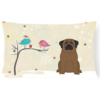 Pillows christmas presents between friends bullmastiff canvas fabric decorative pillow
