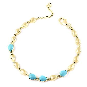 LucyQ Doornroosje Turquoise Drop Armband Verguld Zilver 7.5 '' 2.66ct