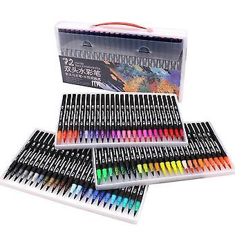 72色ペイントセットソフトペンペイントセットトライアングルブラックロッド双頭カラーフックラインマーカーペン