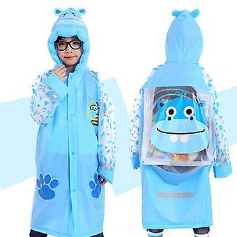 3-10 Jahre Alter Kinder Kapuzenponcho Cartoon Regenmantel mit Schultasche Sitz-blau