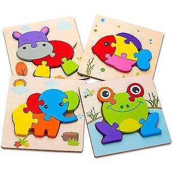 Qian puzzle-uri din lemn copil mic, jucarii pentru copii cu 4 modele de animale