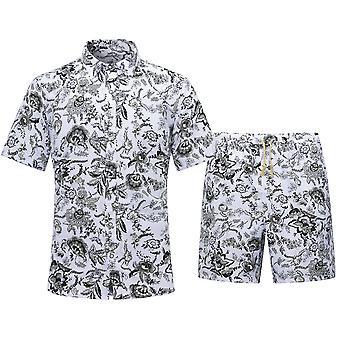Silktaa الرجال هاواي طباعة قمصان قصيرة الأكمام عارضة قميص مجموعة