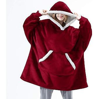 Női vastag pizsama viselhető bárány bársony lusta takaró Home Casual Plüss pulóver Kapucnis (piros)