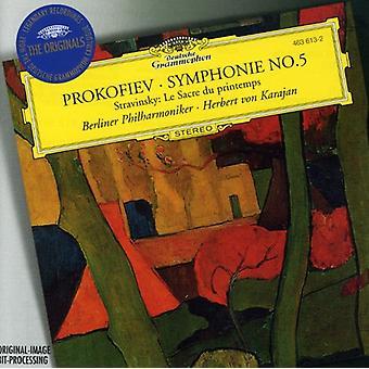 Orquestra Filarmônica de Berlim/Karajan - Prokifiev: Sinfonia no. 5; Stravinsky: Le Sacre Du Printemps [CD] EUA importar