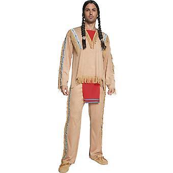 Autentiske vestlige samling indisk Chief kostume med top og bukser Str. M