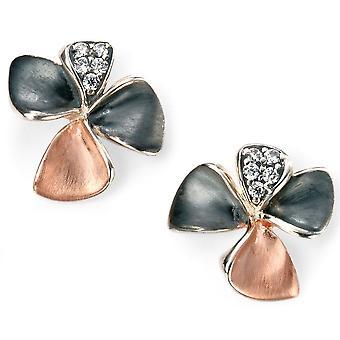 925 argento oro rosa placcato fiore e collana di zirconio