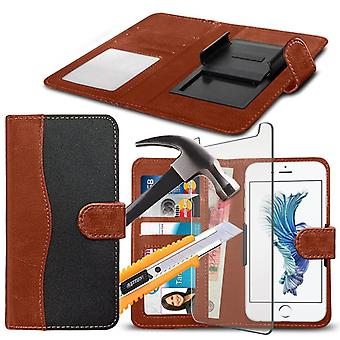 """i-Tronixs - Wiko Sunny (4"""") High Quality Fabric Material Clamp Clip Wallet Case Cover with Tempered Glass - Black and Brown"""