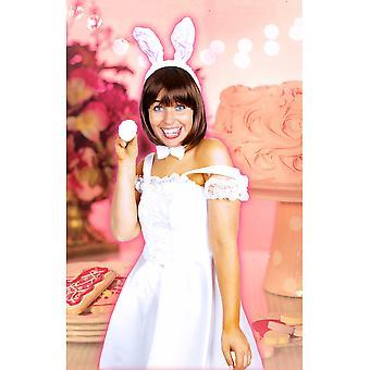 Voksen Bunny kanin sæt hvid rose