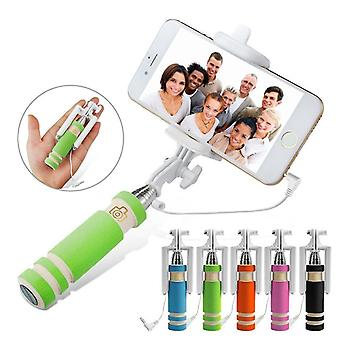 (Green) Universal Adjustable Mini Selfie Camera Stick Pocket Sized Monopod Built-in Remote Shutter For Vivo X20 Plus Ud