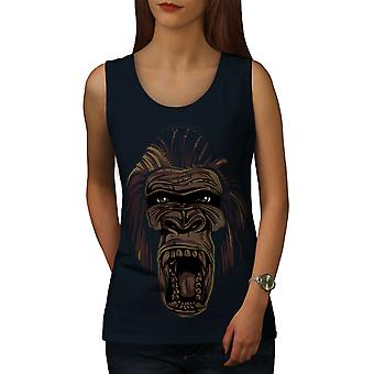 Wild Animal Monkey Face Women NavyTank Top | Wellcoda
