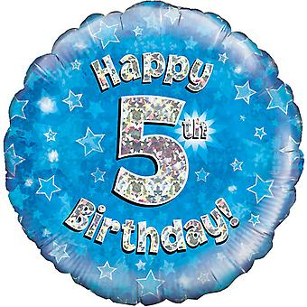 Oaktree 18 Inch Happy 5th Birthday Blue Holographic Balloon