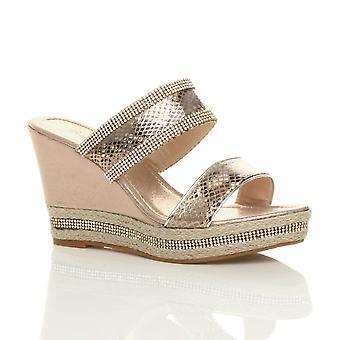 Ajvani womens wedge haut talon diamante strappy plateforme sandales espadrilles