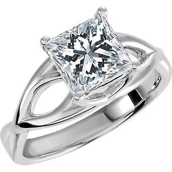 1 karat prinsessen kuttet forbedret Diamond kabal forlovelsesring 14K hvitt gull