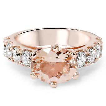 4ct Oval Morganite & Diamond Ring 14K Rose Gold