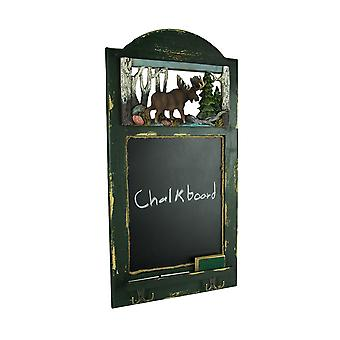 Rustic Wood Frame Country Moose Hanging Chalkboard with Hooks