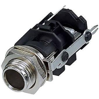 Rean AV RJ3VM-D1-CON 6.35 mm audio jack Socket, vertical vertical Number of pins: 3 Stereo Black 1 pc(s)