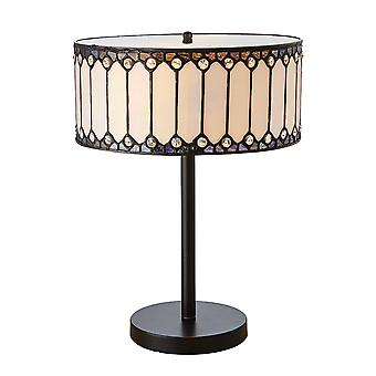 Interiors 1900 Fargo Cylinderical Amber And Bronze Tiffany Table Lamp