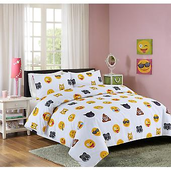 White Emoji Smiley Face Duvet Quilt Cover Polycotton Printed Bedding Set