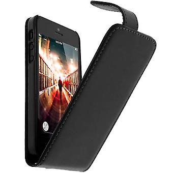 Vertical magnetic case, synthetic leather case for Apple iPhone SE/5/5S - Black
