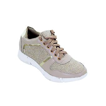 Ladies Casual Lace Up Shiny Gym Sport Metallic Glitter Sneakers Fashion Trainers