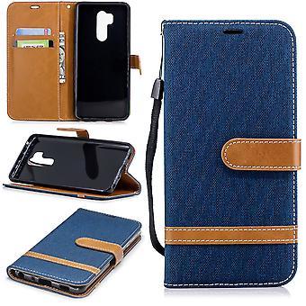 LG G7 telefon ärm skyddande väska fall täckkort fack Etuis bok-stil blå