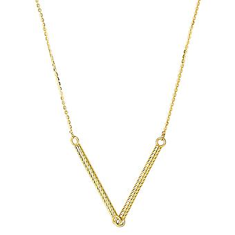 14k Yellow Gold Cylinder Bar Pendant Necklace, 18""