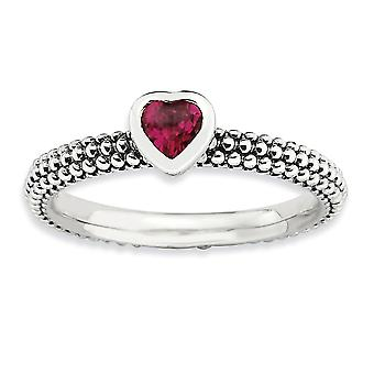 2.25mm 925 Sterling Silver Bezel Rhodium plated finish Stackable Expressions Polished Created R Love Heart Ring Jewelry