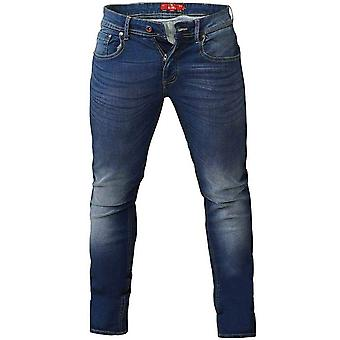 D555 Mens Ambrose Big Tall Tapered Fit Stretch Jeans Trousers - Blue