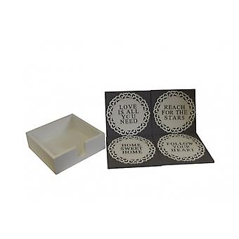 Set of 4 Pretty Fretwork Quote Coasters With Storage Tray