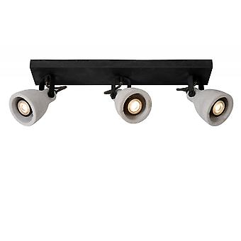 Lucide Concri-LED Industrial Square Metal Black Ceiling Spot Light