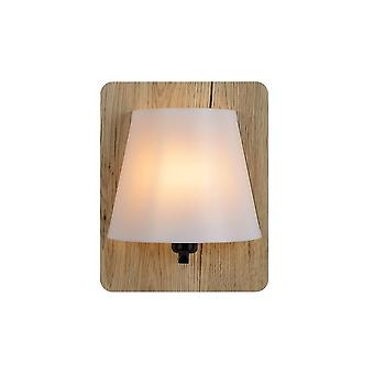 Lucide Idaho Modern Rectangle Wood Light Wood And Opal Wall Light