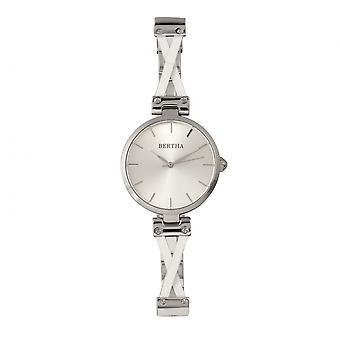 Bertha Amanda Criss-Cross Bracelet Watch - Silver