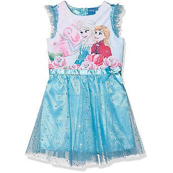 Vestido de manga corta de Disney congelado de HQ1164 de niñas 4 a 8 años