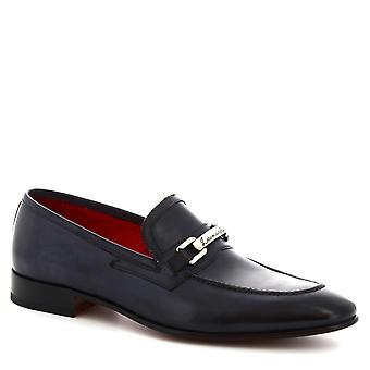 Fait à la main pointu glisse-sur les mocassins peu en cuir de veau bleu de Leonardo chaussures hommes