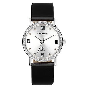 ORPHELIA Damen analoge Uhr Provence schwarz Leder 122-1723-84