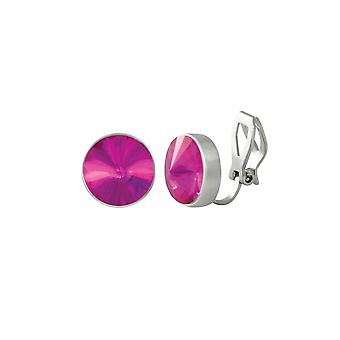 Eternal Collection Treasure Fuchsia Pink Crystal Silver Tone Stud Clip On Earrings