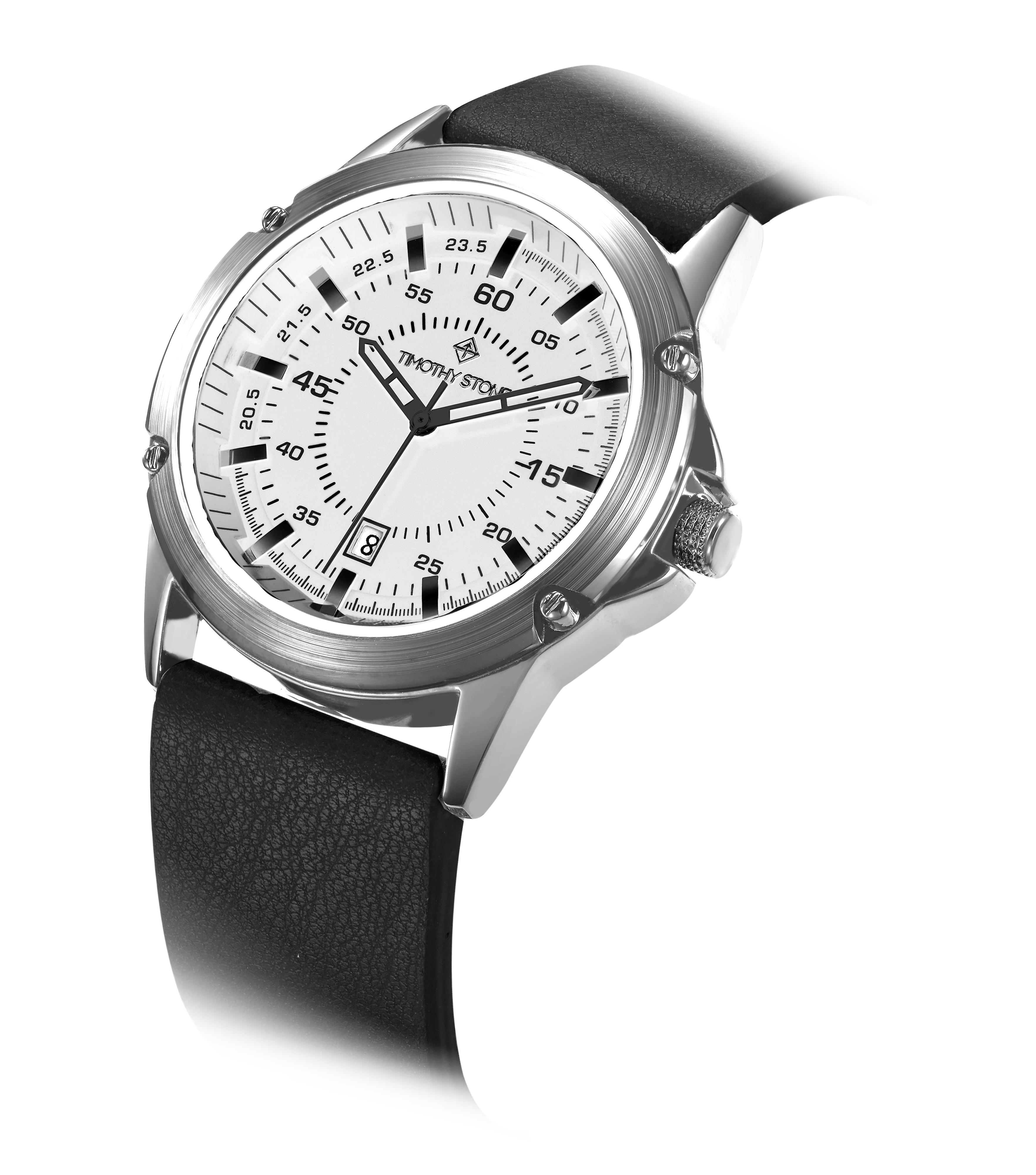Timothy Stone Men's NORSE Silver and Black Watch