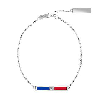 University Of Kansas Sterling Silver Diamond Chain Bracelet In Blue and Red
