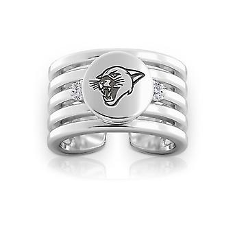 University Of Vermont Engraved Sterling Silver Diamond Multiband Cuff Ring