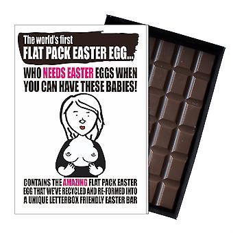Lustige flache Ostern Ei Schokolade Bar Grußkarte Geschenk Männer Freund Mann UK EIYF107