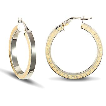 Jewelco London Ladies 9ct Yellow and White Gold Greek Key Square Tube 3mm Hoop Earrings 28mm