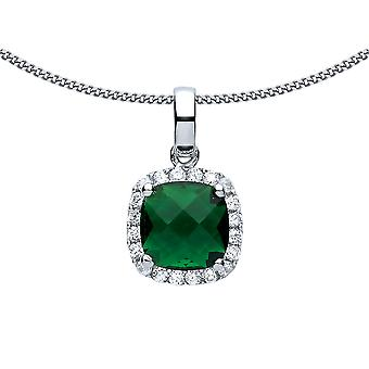 Jewelco London Ladies Rhodium Plated Silver Green Square Cushion CZ Halo Football Stadium Charm Necklace 18 inch