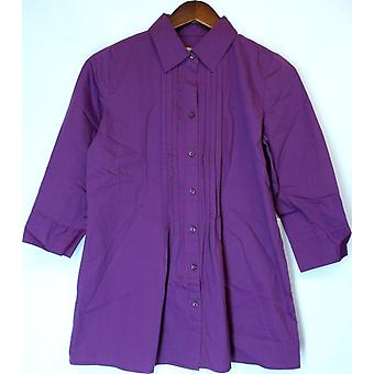 Motto 3/4 Sleeve Button Front Tunic Top w/ Pleat Dark Magenta A203373