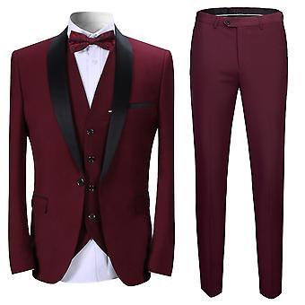 Allthemen Men's 3-Piece Tuxedos Banquet Business Suits Blazer&Vest&Pants